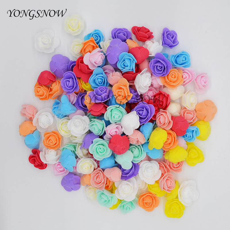 100Pcs/lot 3cm Multicolor PE Foam Rose Artificial Flower Heads Wedding Decoration Home Garden Decorative Wreaths Supplies