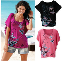 S-XL new bat sleeve floral print t shirt o neck short sleeve tops t shirt summer holiday casual leisure t-shirt
