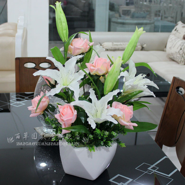 Artificial Flowers Silk Roses Suit Dried Lily Flower Table Decoration Living Room
