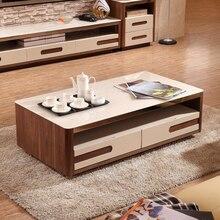 Minimalist living room coffee table combination veneer hollowing process ultra-white glass of 4 drawers teasideend
