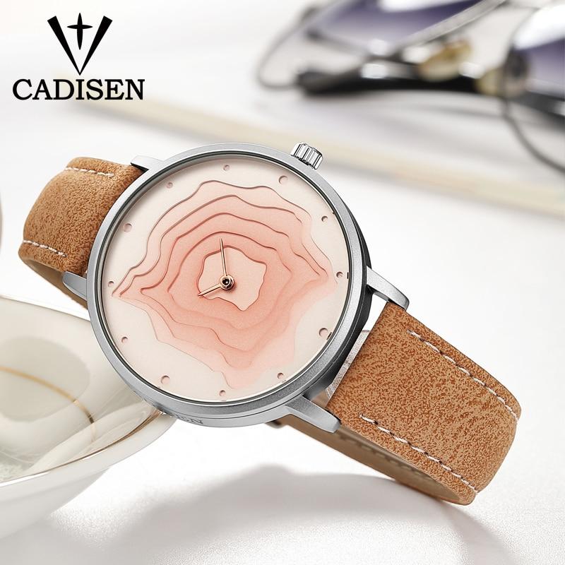 2018 Fashion Creative Watches Women Quartz-watch CADISEN Top Brand Unique Dial Design Lovers' Watch Leather Wristwatches Clock