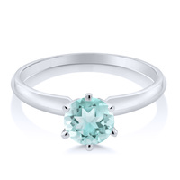 0 90 Ct Sky Blue Topaz 14K White Gold Engagement Solitaire Ring
