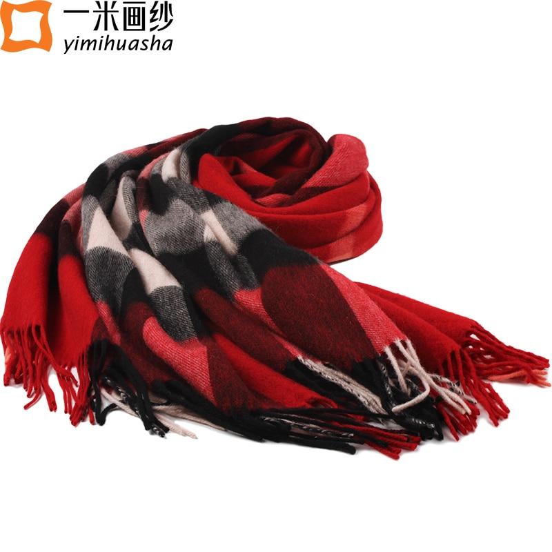 2016 Winter new thick font b tartan b font scarf tassel quality wool plaid shawl wrap