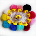12pcs/pack Faux Rabbit Fox Fur 6 cm Pompon Yellow Duck Key Ring Bag Pendant Jingle Bell Key Chain Holder Cute Charm Jewelry