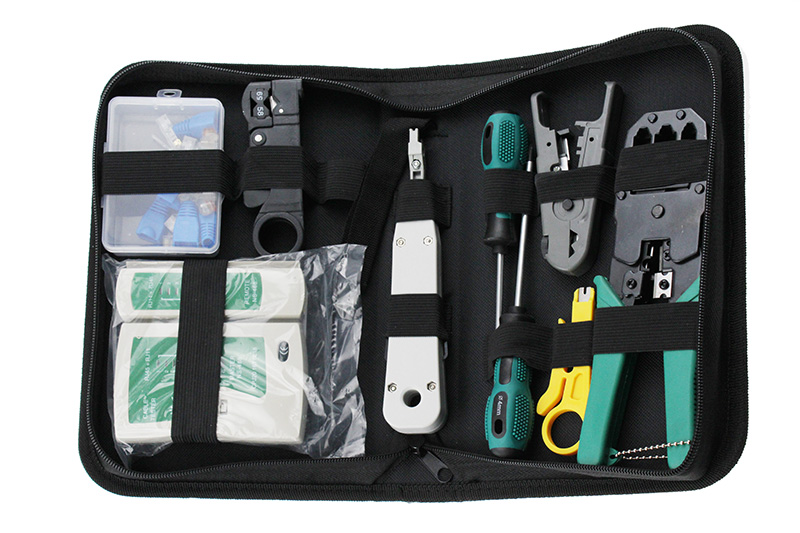 11 pcs/ensemble RJ45 RJ11 RJ12 CAT5 CAT5e Portable LAN Réseau De Réparation outil Kit Utp Câble Testeur ET Pince À Sertir pince À Sertir Plug pince