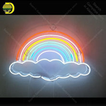 Rainbows Clouds Neon Sign charming Handmade neon light Decorate Home Bedroom Iconic Art Neon Lamps with Clear Board lamp Artwork(China)