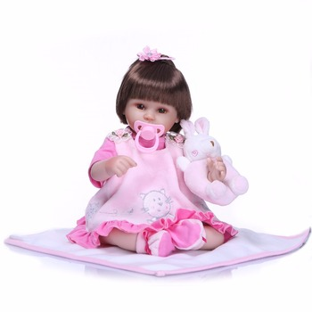 """Bebes reborn realista girl NPK real fake baby silicone doll reborn18""""40cm hair rooted cotton body with rattle pacifier bottle"""
