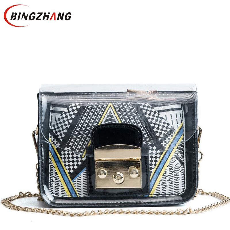 2018 Female Transparent Bags New Chain Straps Shoulder Bag Jelly Women handbag Small Crossbody Printing Composite Bag L8-223