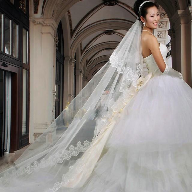 Wanita Pernikahan Kerudung dengan Sisir Panjang 3 M Renda Edge Bridal Cathedral Bridal Veil 1 Lapisan Patry Aksesoris 2018
