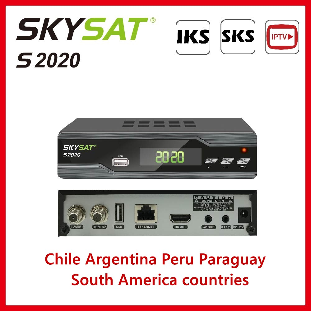 Adroit [chile Argentina Peru& South America]skyat S2020 Receiver Support Iks Sks Iptv H.265 Xtream M3u Cccam Newcamd Powervu Biss Wifi