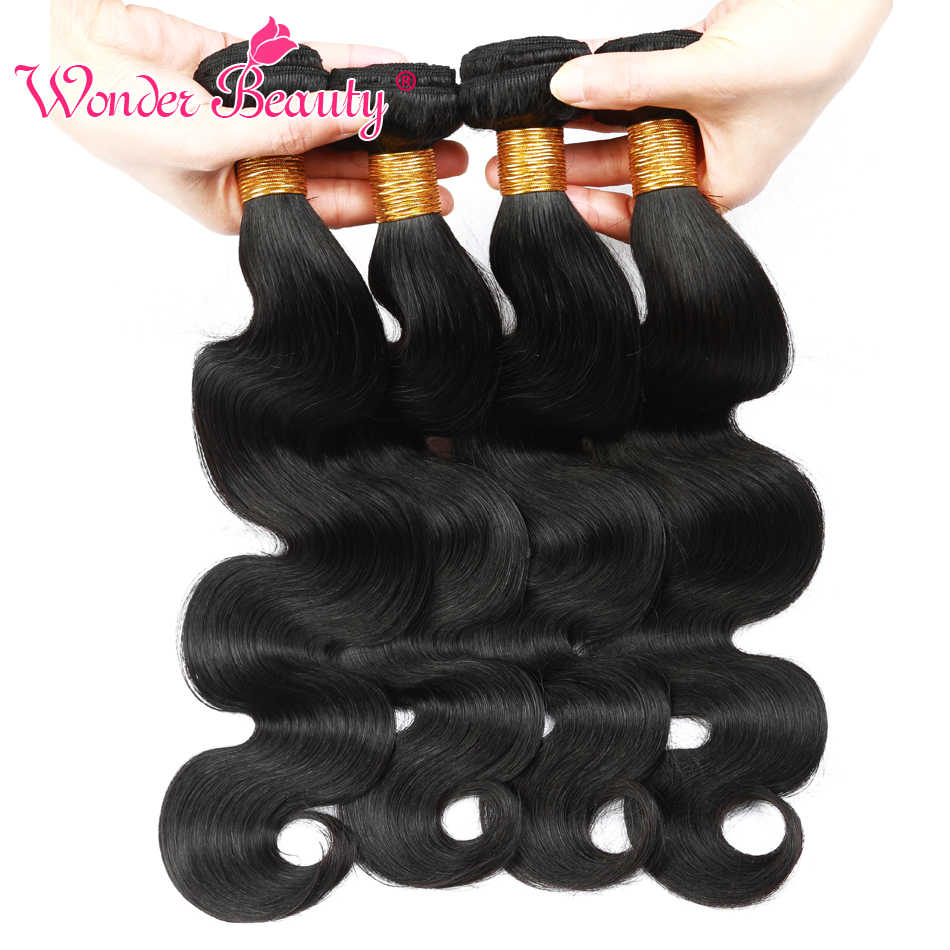 Wonder Schoonheid Peruaanse Lichaam Wave bundels 100% Human Hair Weave Bundels 1/3/4 Pcs Black 8- 30 Inch niet remy Hair Extension