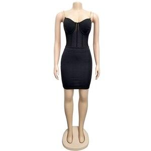 Image 5 - Echoine Sexy Spaghetti trägern Sheer Mesh Zwei Stück Set Crop Top + Bodycon Mini Kleid Frauen Zwei Stück Outfits