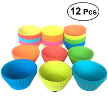 12 Pieces 7cm Round Silicone Reusable Baking Cake Molds Jelly Mould Cupcake Maker Muffin Cup (Random Color)(China)