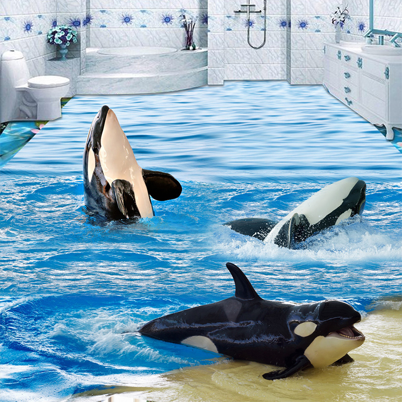 3D Wallpaper Cartoon Sea Wave Dolphins Floor Tiles Murals Sticker Bathroom Kids Bedroom PVC Waterproof Self Adhesive Wall Papers