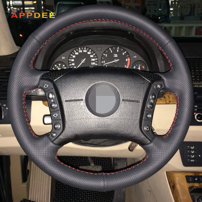 APPDEE Hand-Stitched Black Artificial Leather Car Steering Wheel Cover for BMW E46 318i 325i E39 E53 X5 Car Styling
