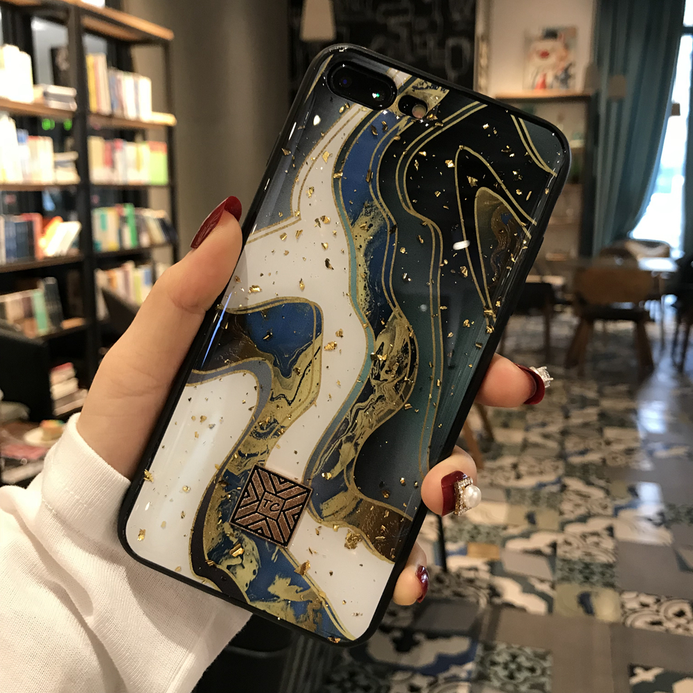 Gold Foil Marble Bling Phone Case For iPhone X XS Max XR Soft TPU Granite Geometry Cover For iPhone 7 8 6 6s Plus Glitter Case (2)