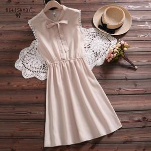 Image 1 - 2019 New Mori Girl Vintage Summer Women Dress Bowknot Sweet Cotton Linen Vestidos De Festa Sleeveless Plaid Robe Femme Sundress