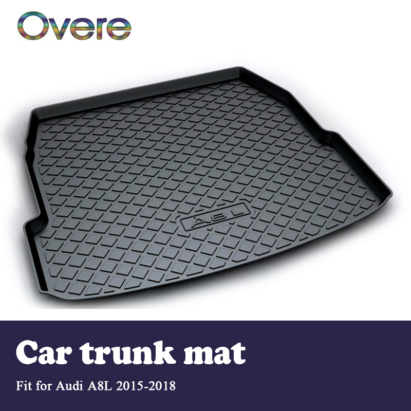Overe 1Set Car Cargo rear trunk mat For Audi A8L 2015 2016 2017 2018 Boot Liner Tray Waterproof Anti-slip mat Accessories overe 1set car cargo rear trunk mat for audi a1 2012 2013 2014 2015 2016 2017 liner tray waterproof anti slip mat accessories