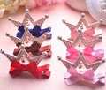 Beautiful Princess Hair Ornaments Girls Inlaid Rhinestone Crown Small Bows Hairpin Side Clip Birthday Party Gifts Wholesale