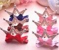 Hermosa Princesa de Pelo Adornos Niñas Rhinestone Embutió Crown Arcos Pequeños Horquilla Clip Lateral Fiesta de Cumpleaños Regalos Al Por Mayor