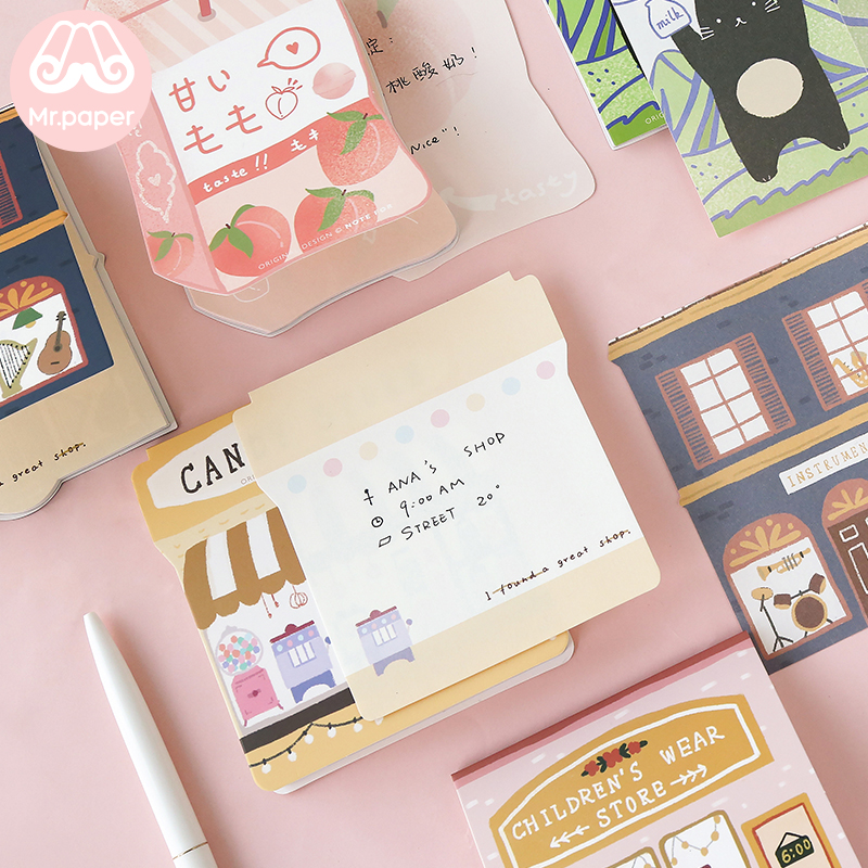 Mr Paper 24pcs/lot 8 Designs Peach Soda Candy Snack Lucky Pocky Loose Leaf Memo Pads Notepad Diary Write Down Notes Memo Pads
