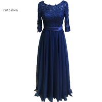 ruthshen Navy Blue Evening Dresses 2018 3/4 Sleeves Lace Appliques Ruched Tulle Fomal Modest Floor Length Evening Dresses Cheap