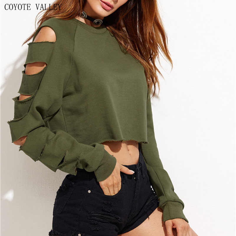 5aa3a910350 Sexy Sweatshirt Women Long Sleeve Holes Hollow Out Crop Top Midriff Women  Hoodies Sweatshirt polerones mujer