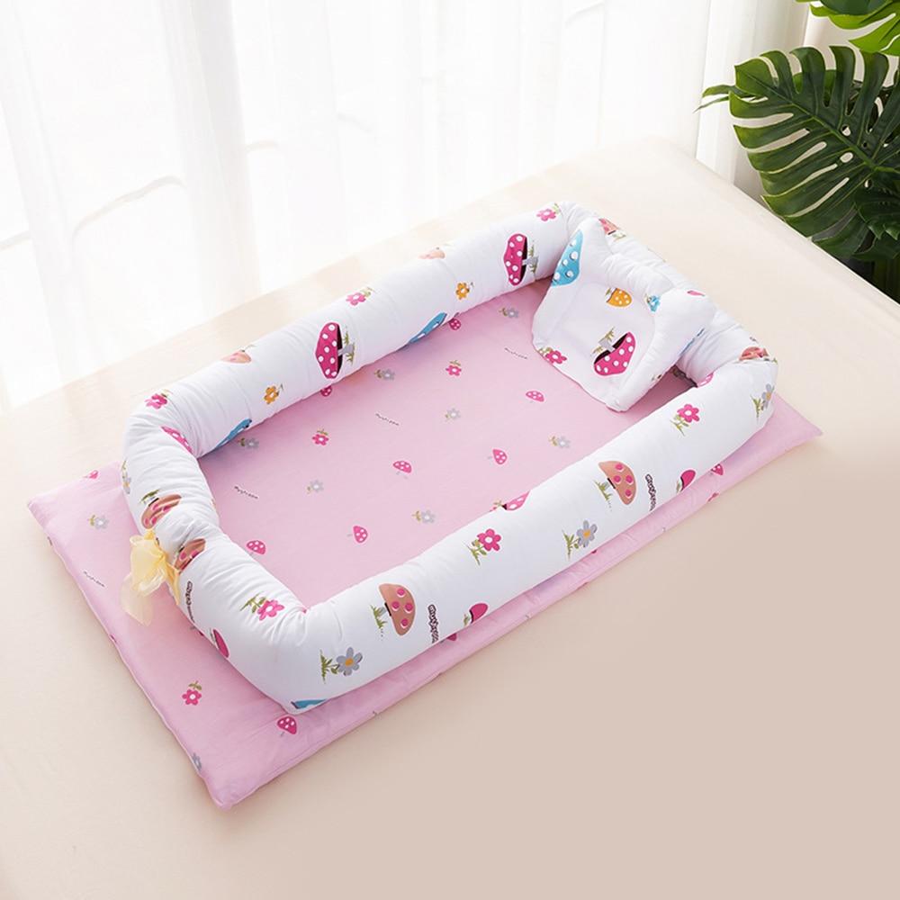 Portable Cartoon bébé lit pare-chocs berceau doux coton bébé nid lavable infantile lit de voyage lit avec oreiller enfants lit Babynest - 2