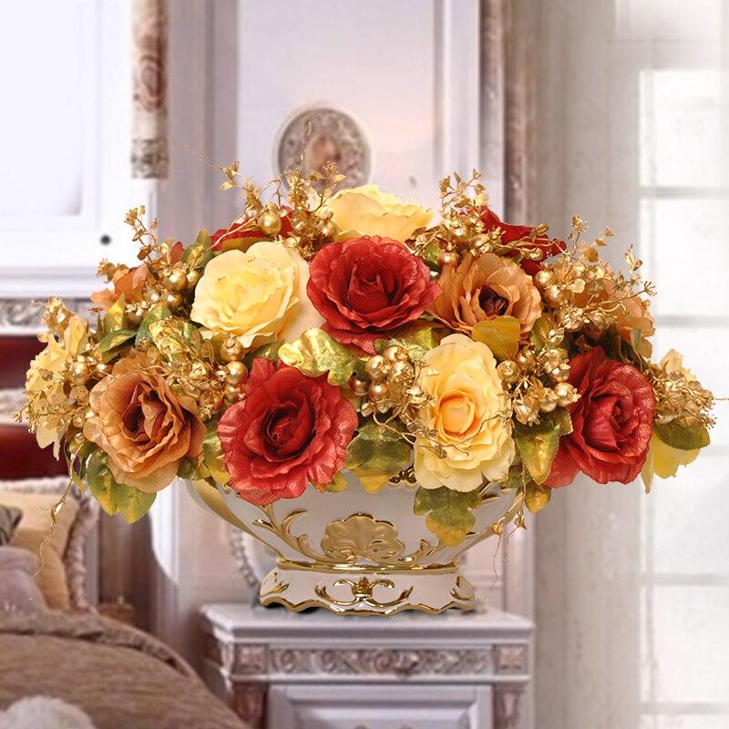 Королевский золотой бисер набор Модный с искусственными цветами набор гостиной обеденный стол украшение для дома цветок - 4