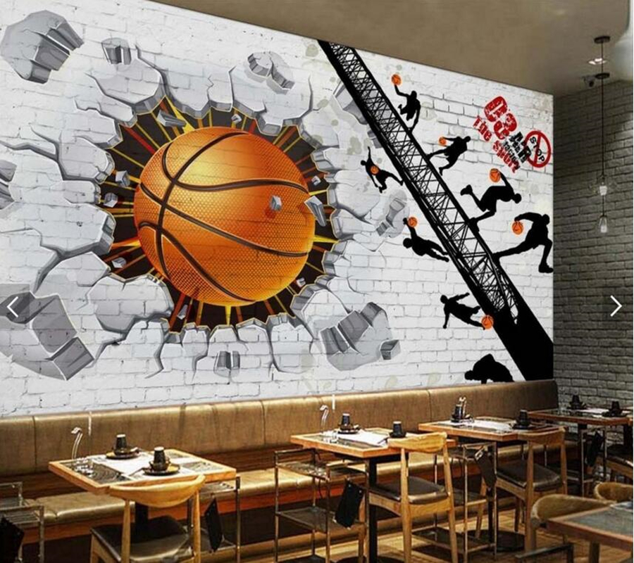 Custom Basketball Wallpaper, White Brick Wall Basketball