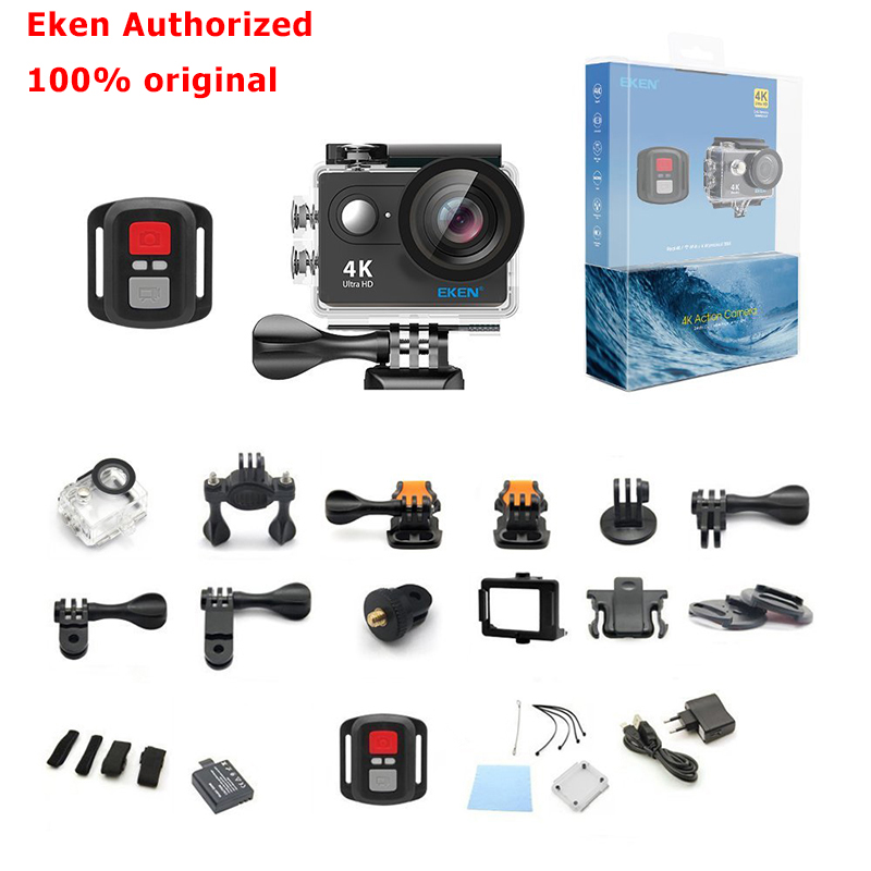 Eken 4K Action camera Original EKEN H9 / H9R remote Ultra HD 4K WiFi 1080P 60fps sports waterproof pro drone camera battery dual charger bag action camera eken h9 h9r 4k ultra hd sports cam 1080p 60fps 4 k 170d pro waterproof go remote camera