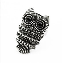 New Fashion Unique Adjustable Vintage Retro Nickel Silver Pewter Owl Ring