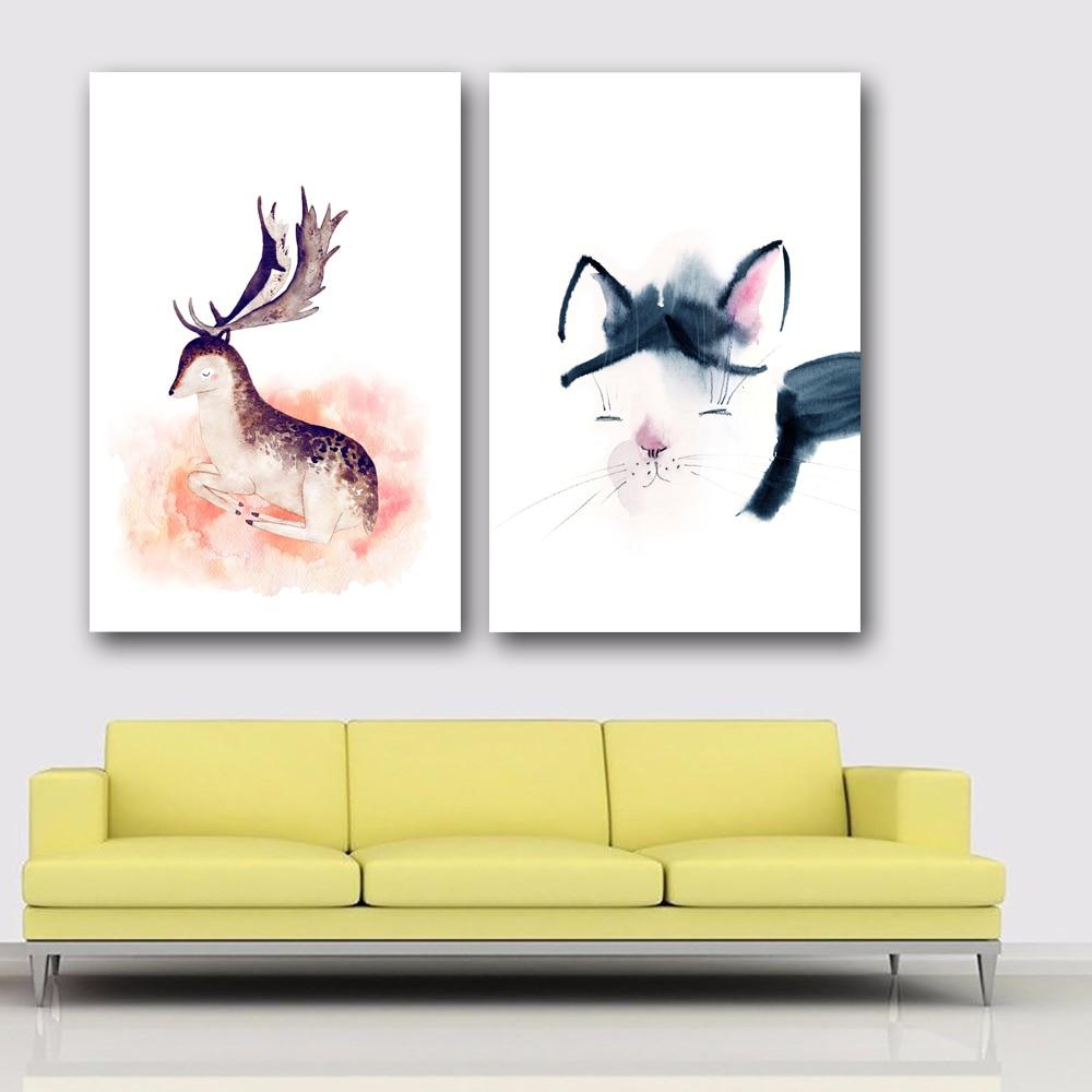 SELFLESSLY Nordic Deer Fox Bear Canvas Poster Minimalist Painting ...