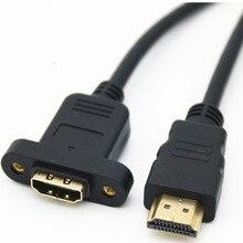 10 pièces/lot câble dextension HDMI mâle à femelle avec montage sur panneau à vis V1.4