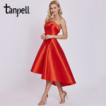 Tanpell corto gasa vestido rojo drapeado sin mangas longitud de la rodilla  asimetría vestido señora sin tirantes formal cocktail. fc29c3ab5e9f