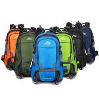 50L กระเป๋าเป้สะพายหลังกันน้ำกีฬากลางแจ้ง Daypack Camping Climbing Hiking กระเป๋าเป้สะพายหลังผู้ชายและผู้หญิง
