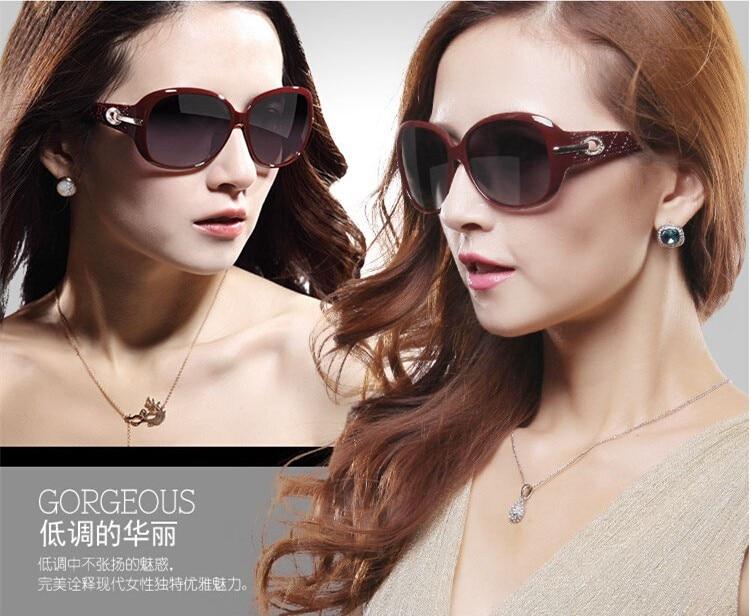 FEISHINI גבוהה באיכות מלאכותית קריסטל אליפסה משקפיים FDA HD PC עדשות UV400 משקפי שמש מקורי לנשים מקוטב עיצוב מותג