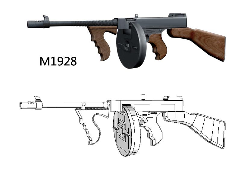 1: 1  Paper Craft Scale Thompson Gun M1928 Paper Model Handmade Toy For  Boy Creative Gift