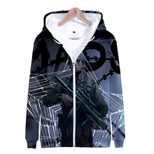 3D Death Stranding Men Zipper Hoodie Off Black And White Multiple Colors Hooded Sweatshirt Kpop Harajuku Winter Male Outerwear