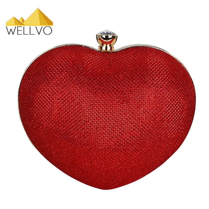 Señoras en Forma de Corazón de Oro de Noche Bolsa de Embrague Bolso Nupcial Del