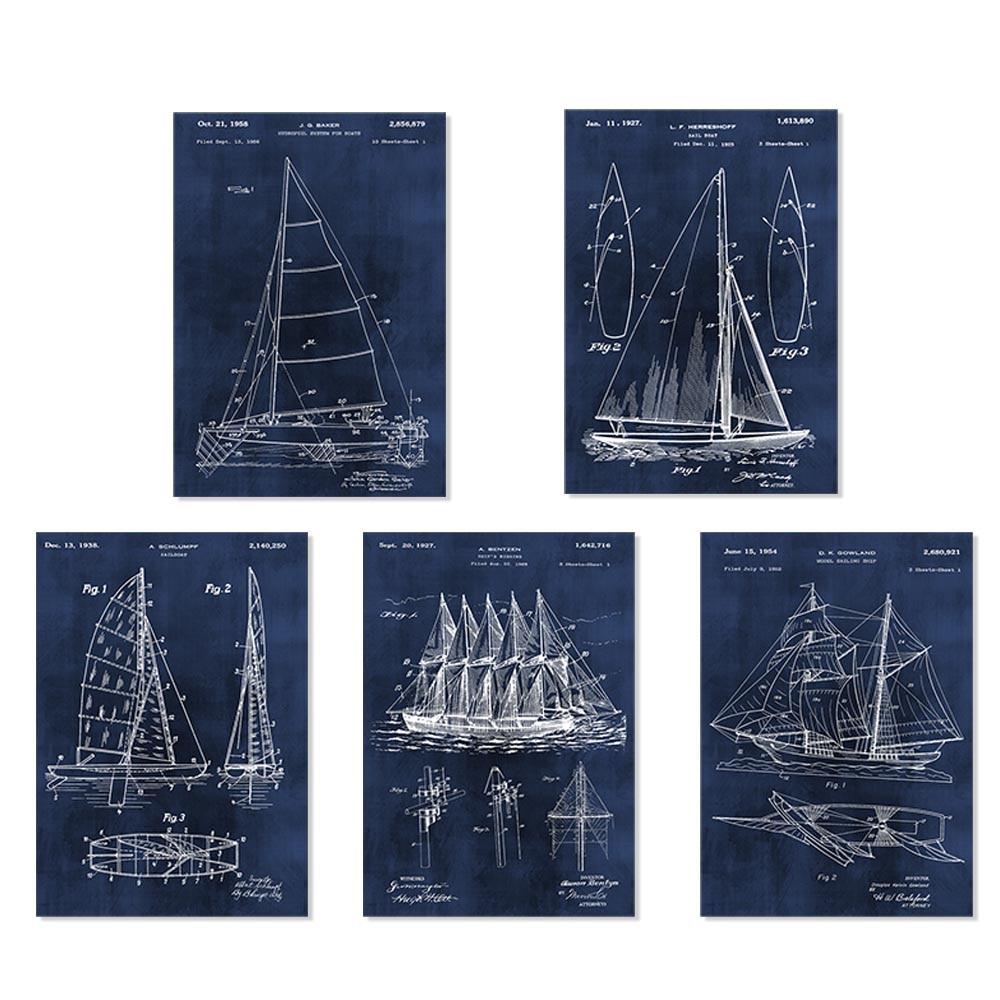 Vintage patente arte barco de vela o nave sin marco 5 en 1 para el ...