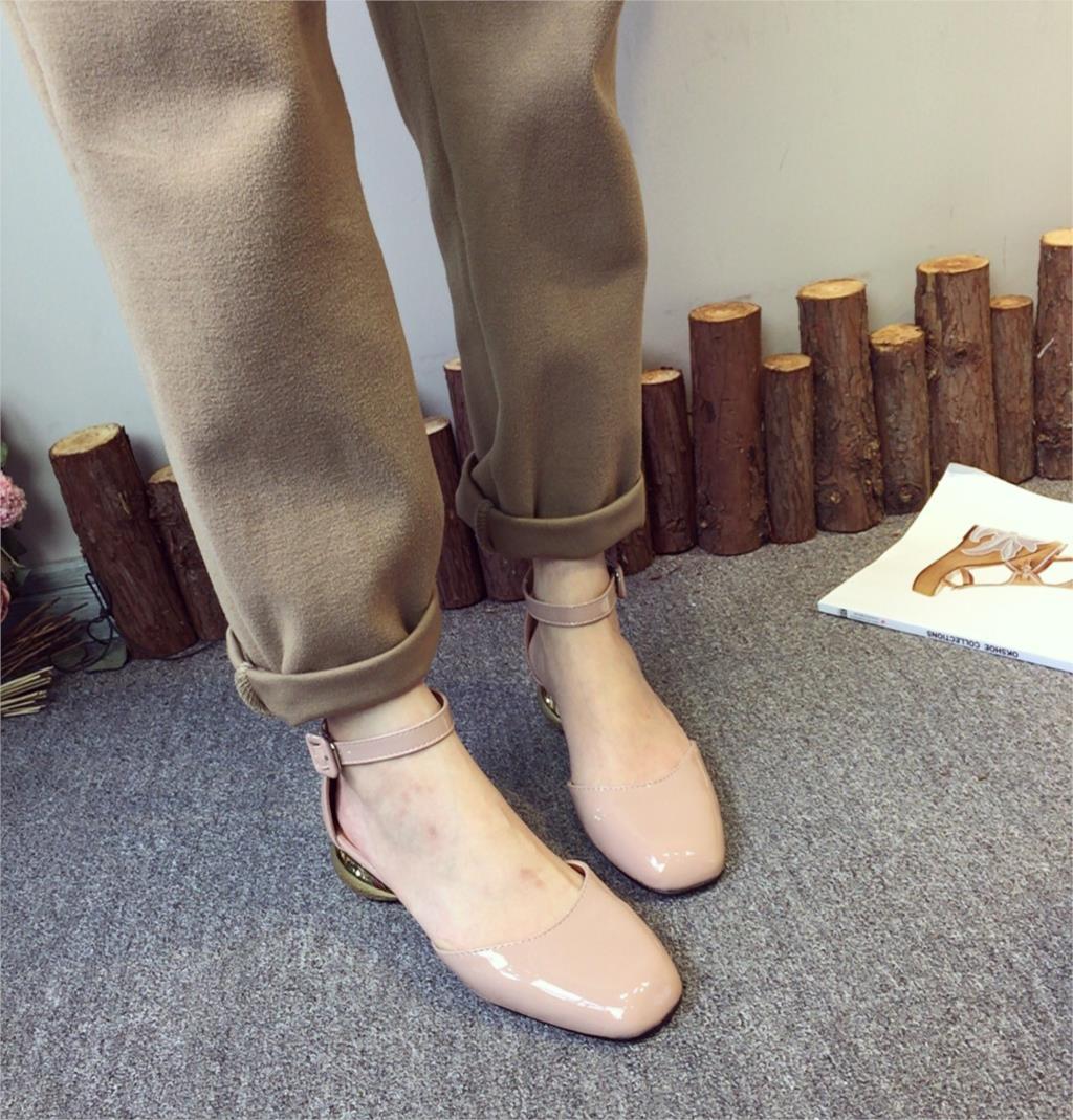 2019 Wanita Sexy Ankle Tali Paten Kulit Pam Kabinet Fesyen Heel Hitam Hitam Emas Hitam 4cm