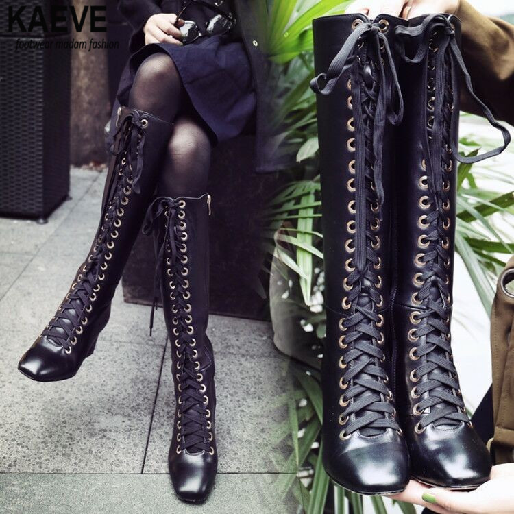 Women Winter New Fashion Lace-up Leather Knee High chunky heel Boots Black Zipper-up Long riding boots High Quality Warm Boots