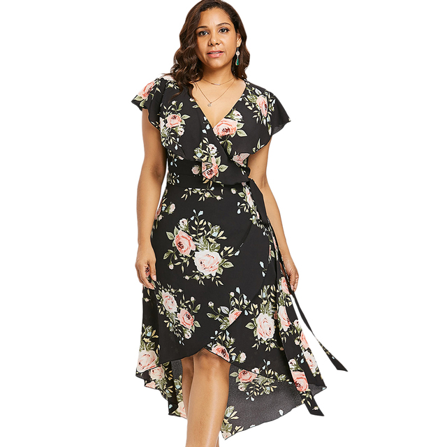 Wipalo Plus Size Shawl Collar Floral High Low Dress Women Dresses