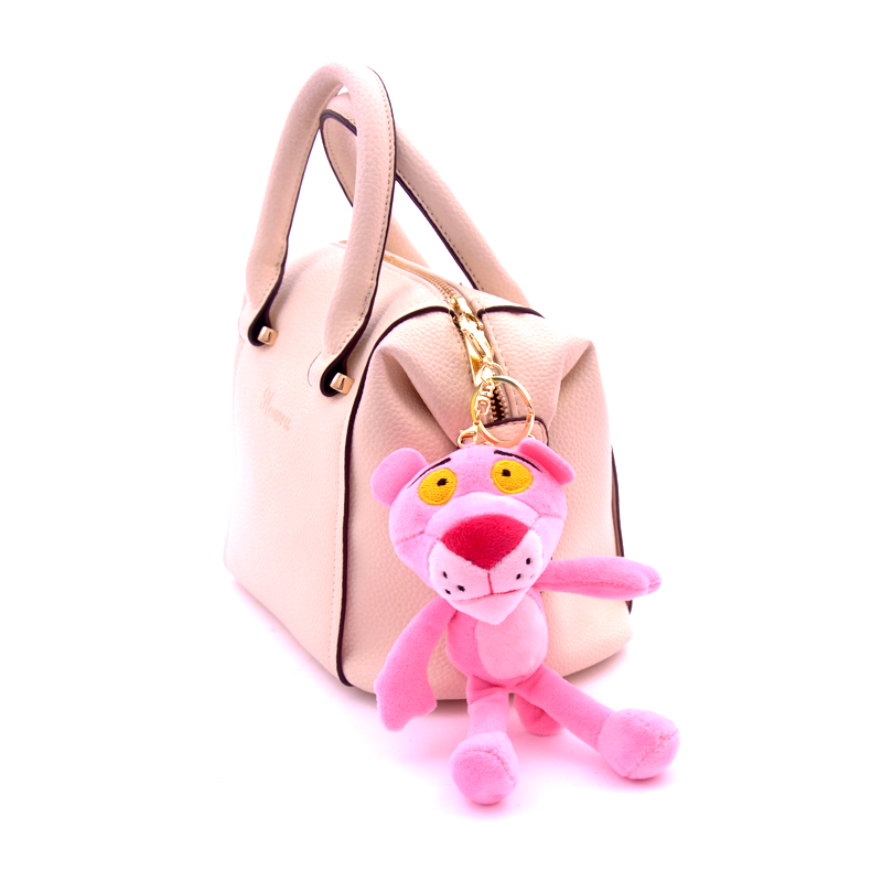 Cute Pink Leopard Keychains Key Ring Trendy Women Bag Charm Accessories Pendant Mini Plush Stuffed Toy Car Keychain Gift