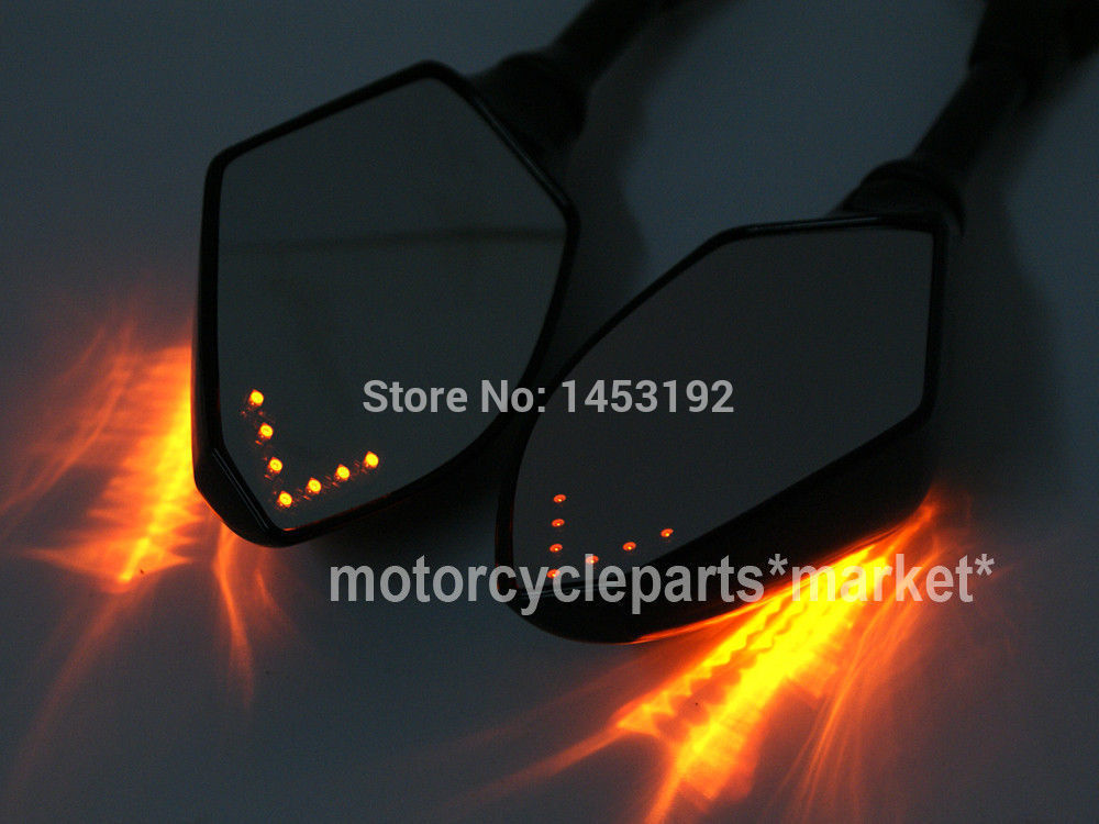 NEW Universal 8MM 10MM Motorcycle LED Turn Signal Light Rearview Mirror Street Bike ...