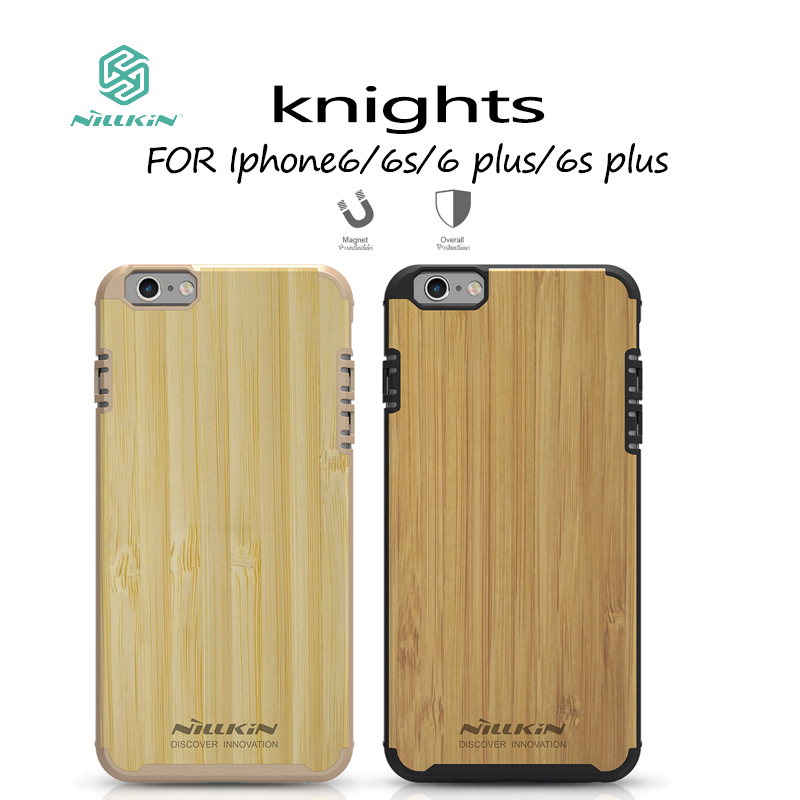Original Nillkin Knights Bamboo Wood Case for <font><b>iPhone</b></font> 6s 6 Bamboo Back Cover Case for <font><b>iPhone</b></font> 6 plus 6S plus Phone Case