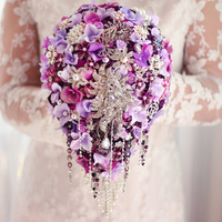 purple Wedding bridal brooches bouquet, Water droplets hydrangea bride's bouquet, Pearl crystal teardrop brooch bouquet decor