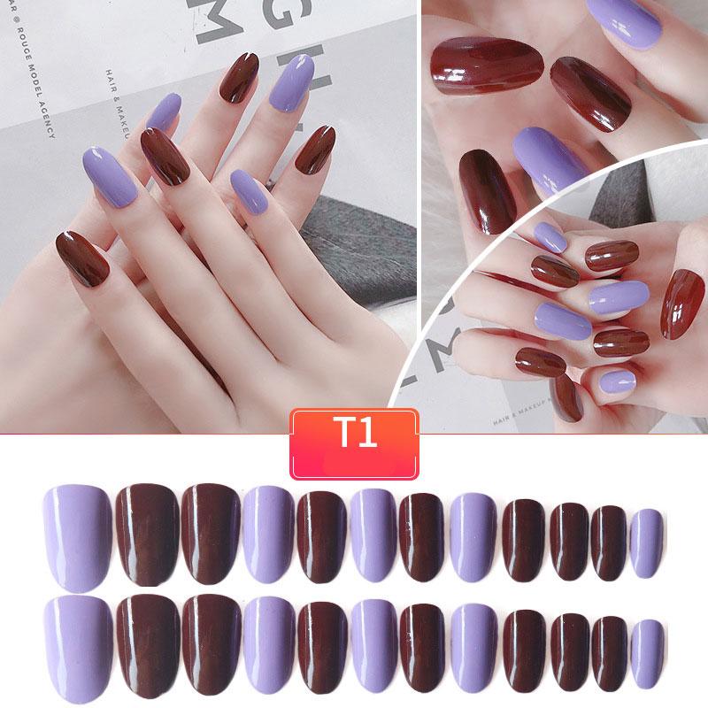 Aliexpress.com : Buy 24pcs New Purple False Nails Fashion