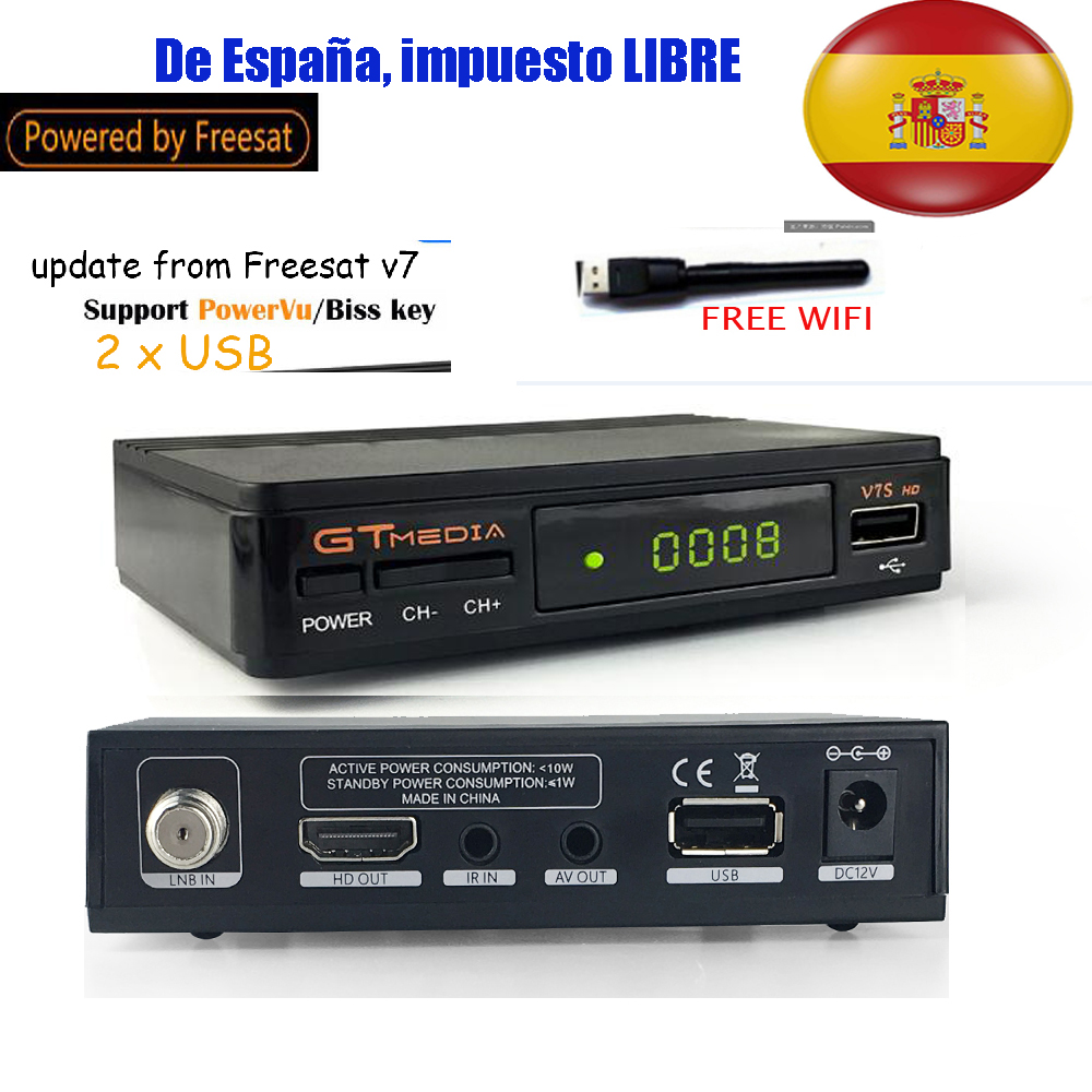 gtmedia v7s vs freesat v7 Satellite Receiver Full 1080P DVB-S2 HD Support Ccam powervu youpron set top box FREE SAT V7 GT MEDIA hello box gsky v7 dvb s2 box with latin america auto roll and powervu function support all n america